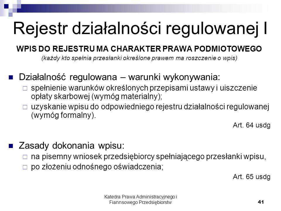 Rejestr działalności regulowanej I