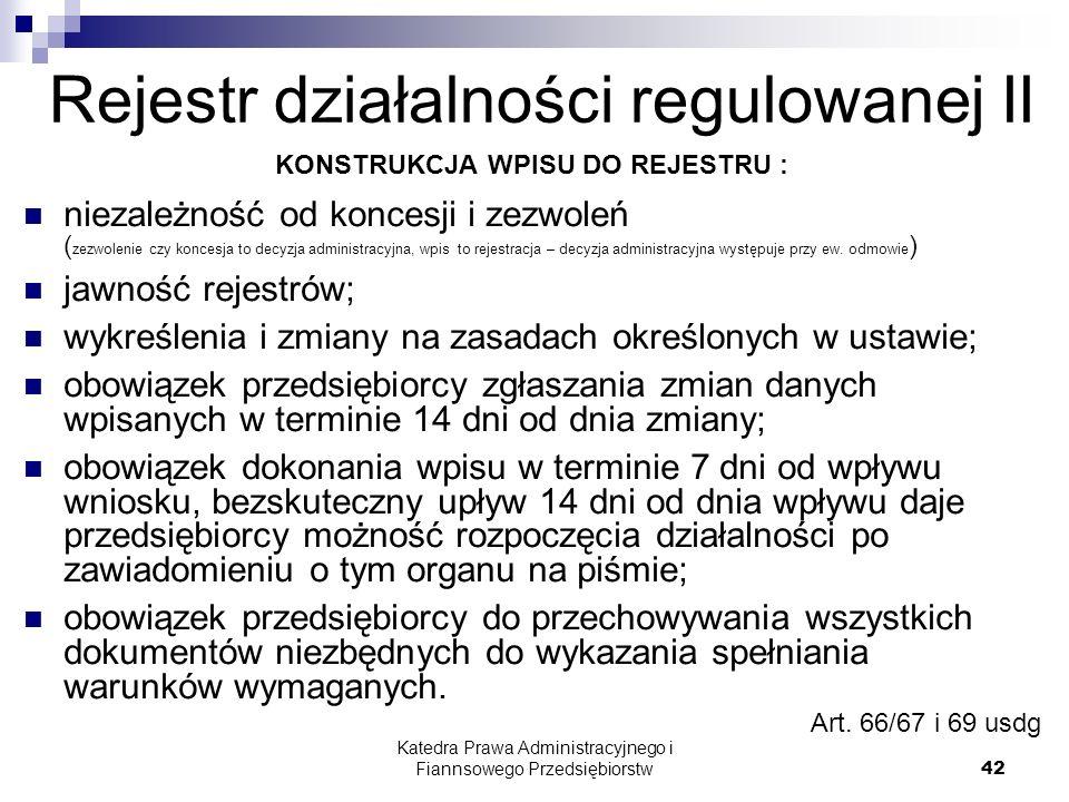 Rejestr działalności regulowanej II