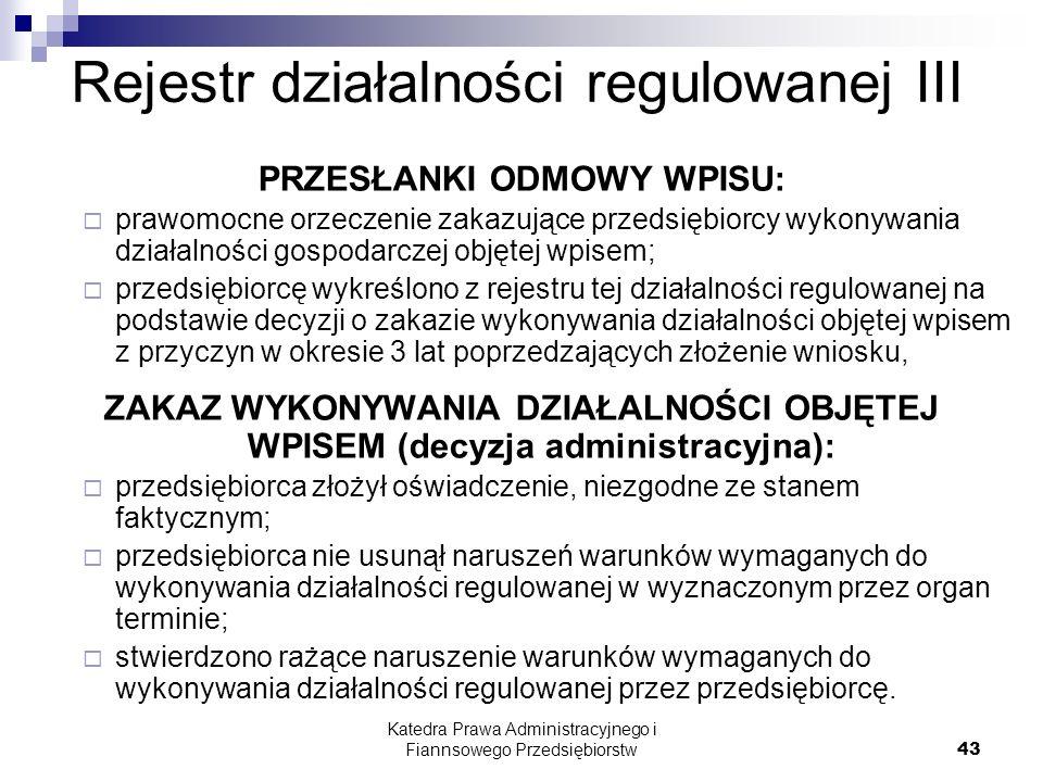 Rejestr działalności regulowanej III