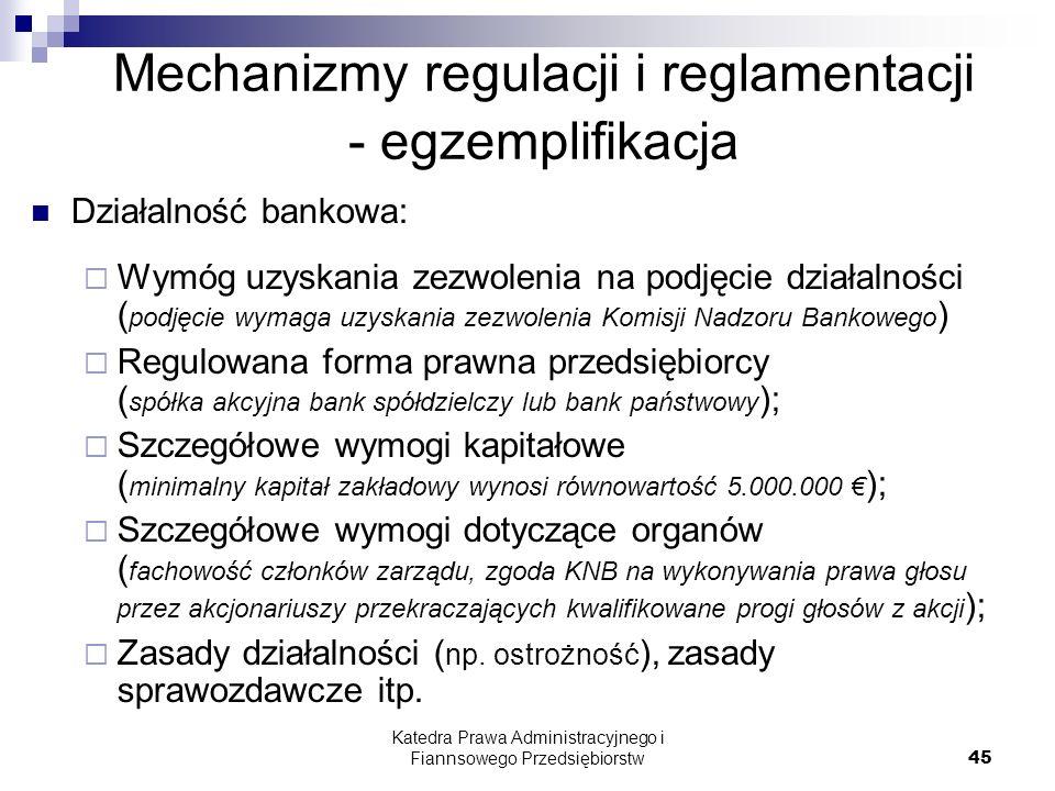 Mechanizmy regulacji i reglamentacji - egzemplifikacja