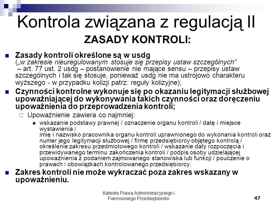 Kontrola związana z regulacją II