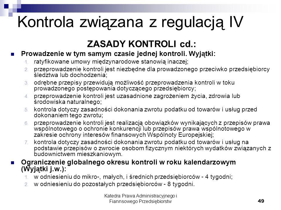 Kontrola związana z regulacją IV