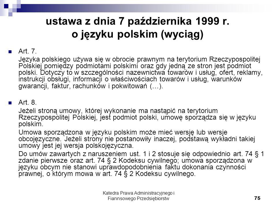 ustawa z dnia 7 października 1999 r. o języku polskim (wyciąg)