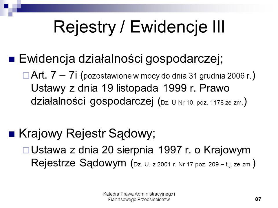 Rejestry / Ewidencje III