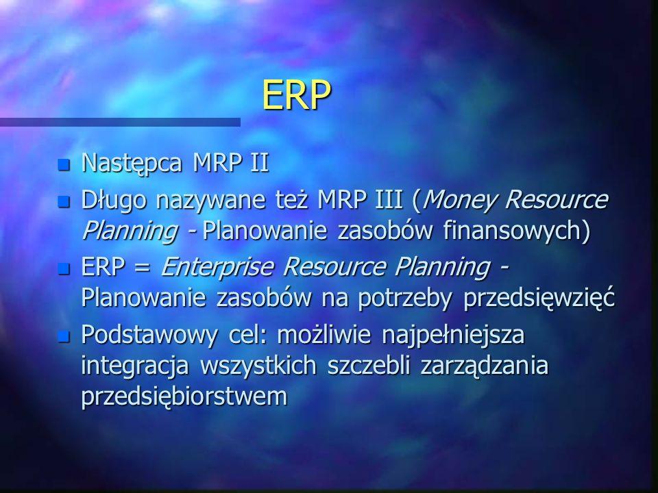 ERP Następca MRP II. Długo nazywane też MRP III (Money Resource Planning - Planowanie zasobów finansowych)