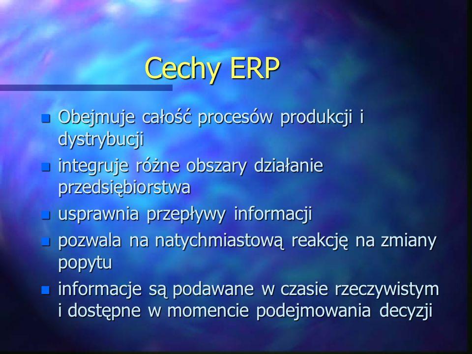 Cechy ERP Obejmuje całość procesów produkcji i dystrybucji
