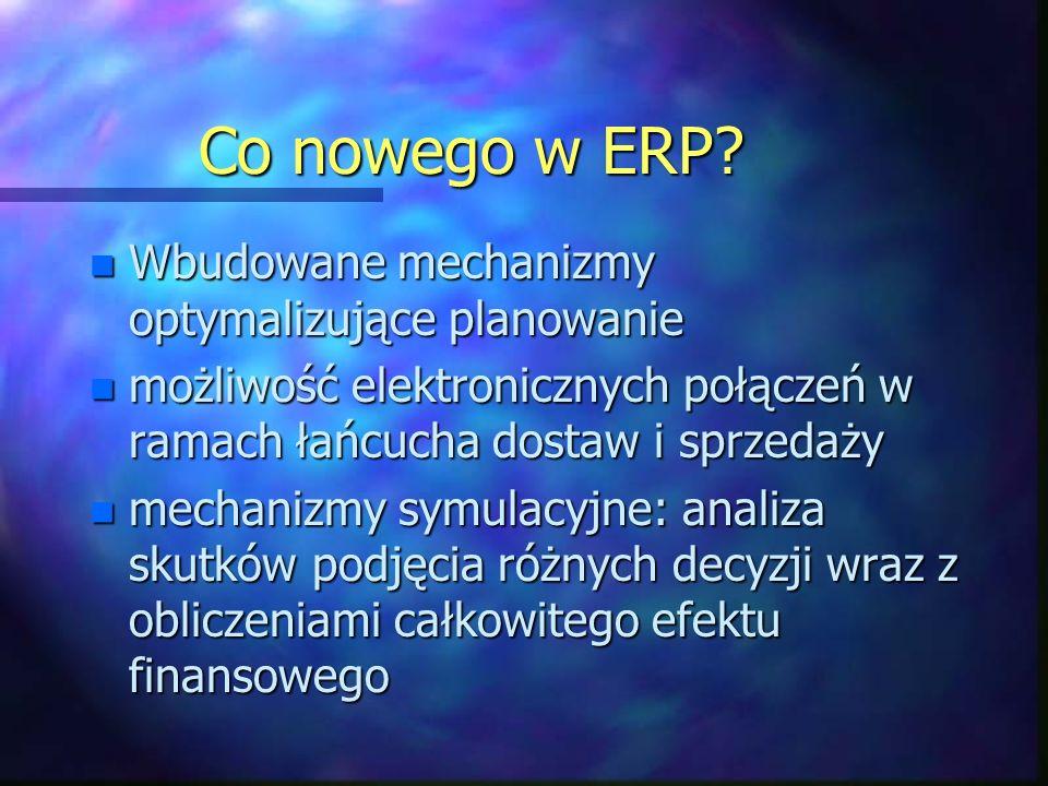 Co nowego w ERP Wbudowane mechanizmy optymalizujące planowanie