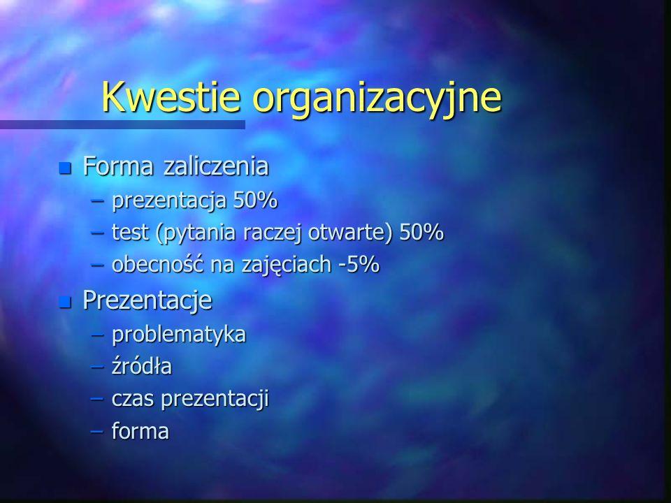 Kwestie organizacyjne