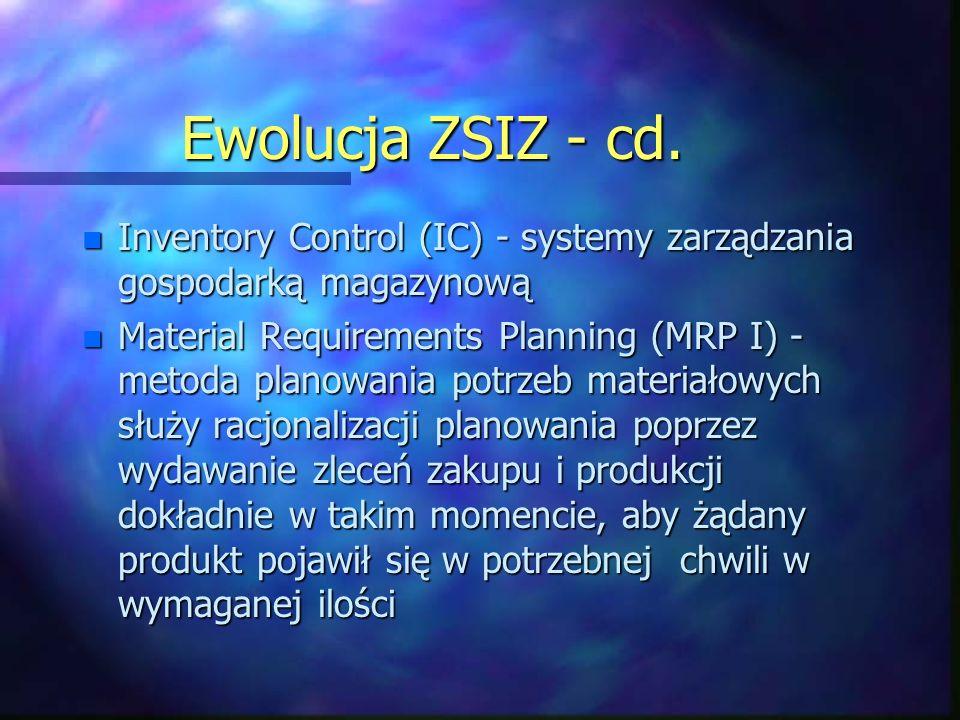 Ewolucja ZSIZ - cd. Inventory Control (IC) - systemy zarządzania gospodarką magazynową.