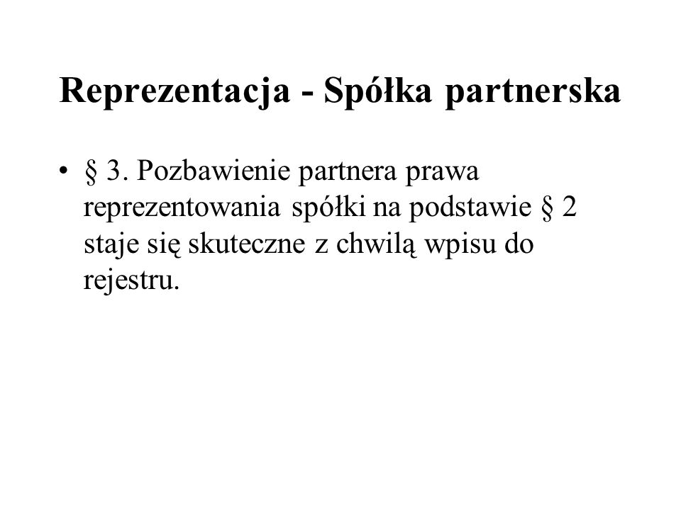 Reprezentacja - Spółka partnerska