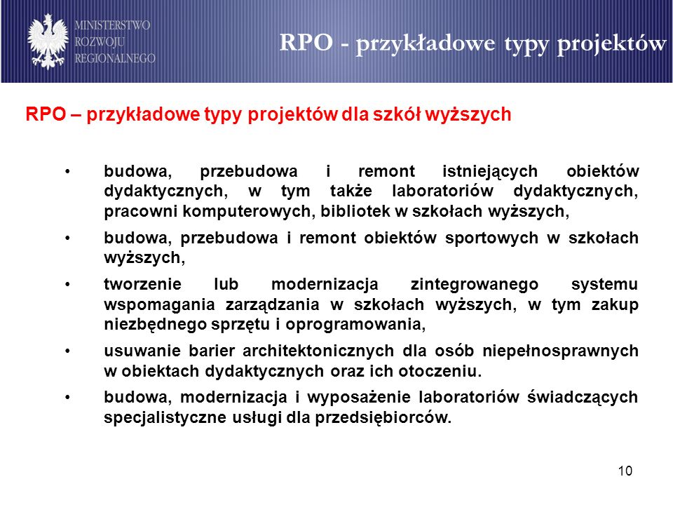 RPO - przykładowe typy projektów