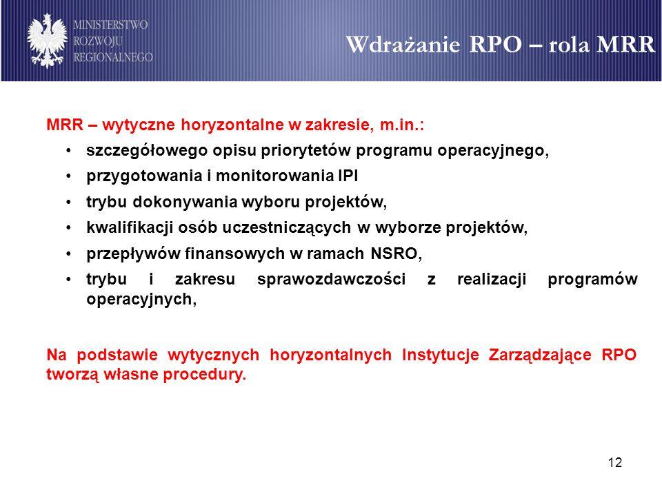 Wdrażanie RPO – rola MRR