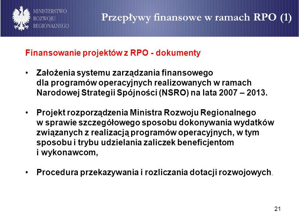 Przepływy finansowe w ramach RPO (1)