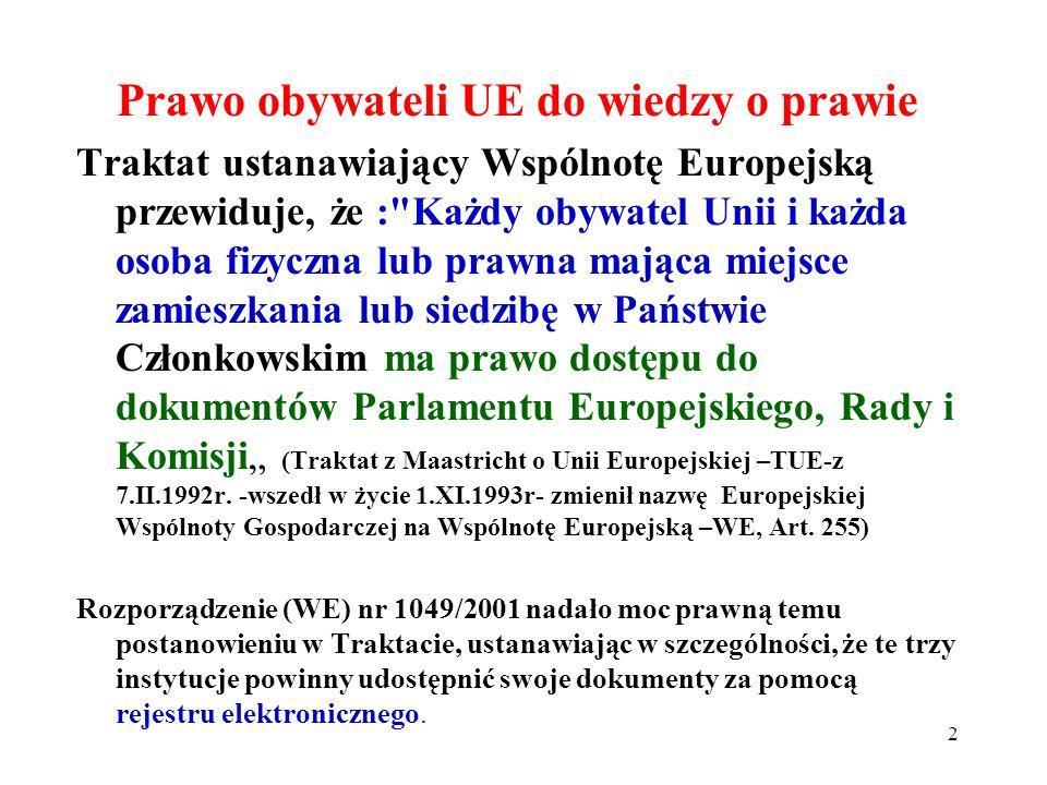 Prawo obywateli UE do wiedzy o prawie