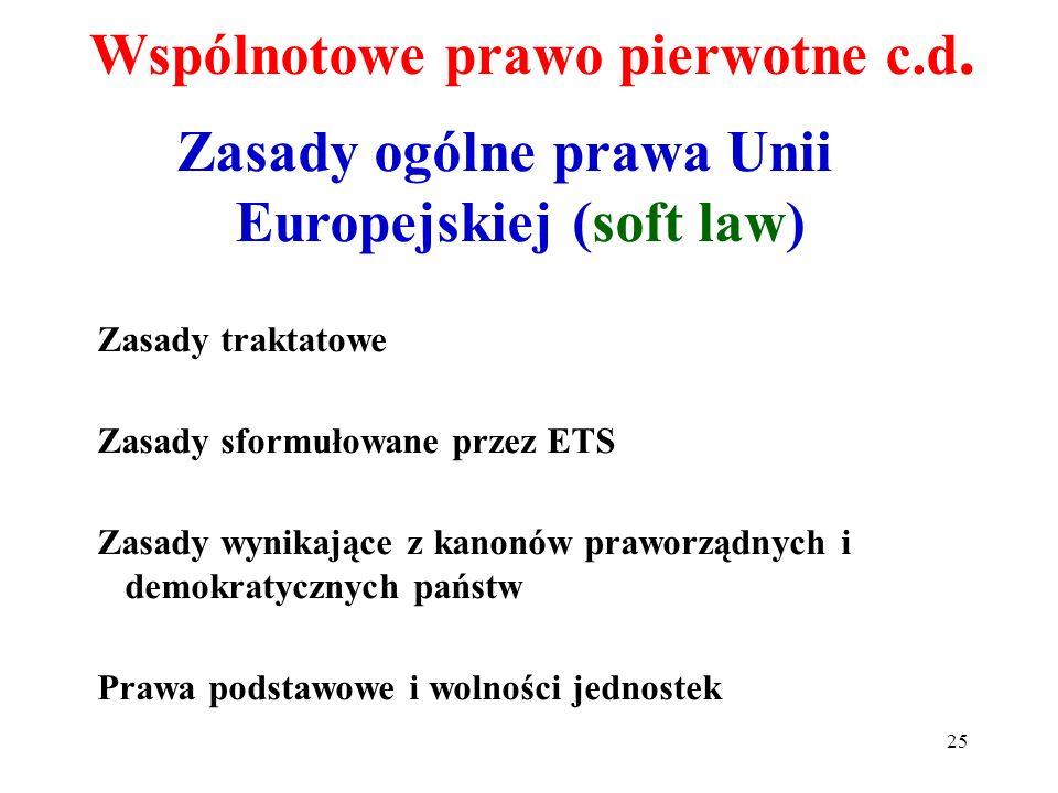 Wspólnotowe prawo pierwotne c.d.
