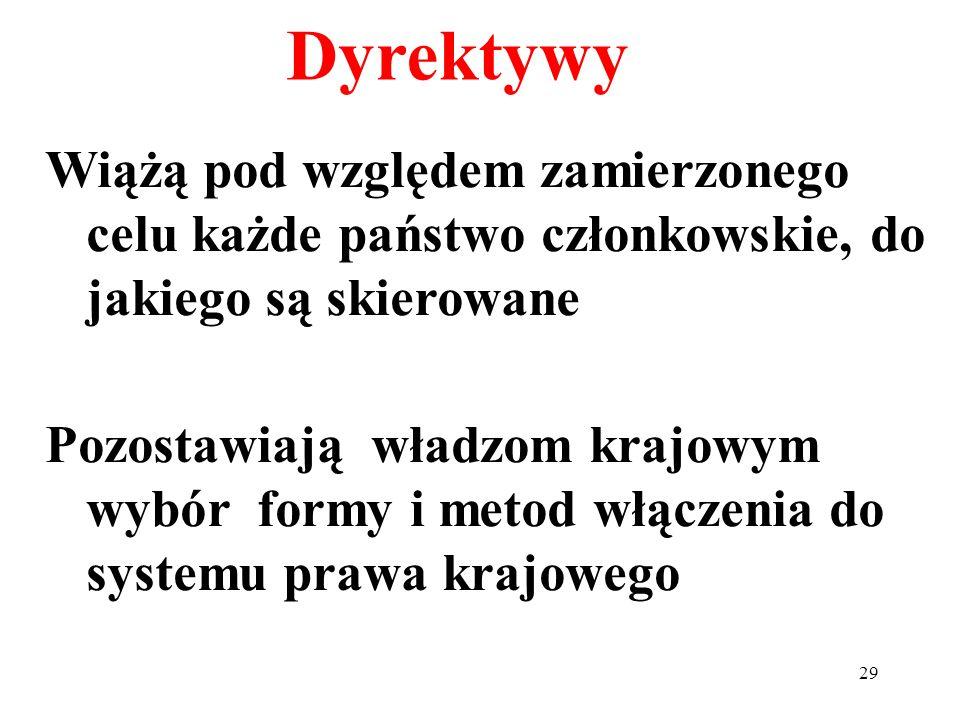 Dyrektywy Wiążą pod względem zamierzonego celu każde państwo członkowskie, do jakiego są skierowane.