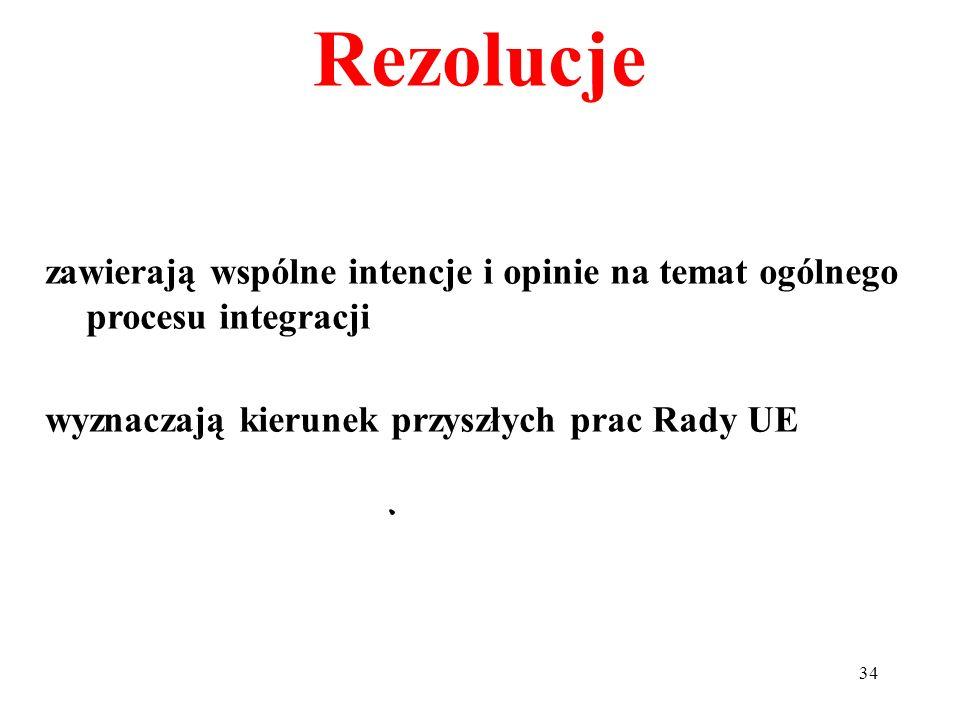 Rezolucjezawierają wspólne intencje i opinie na temat ogólnego procesu integracji.