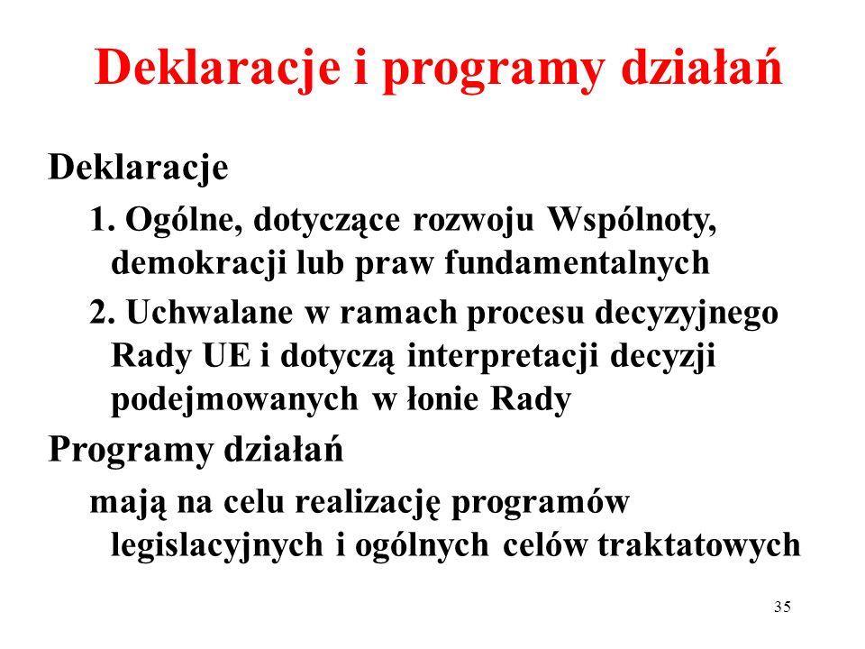 Deklaracje i programy działań