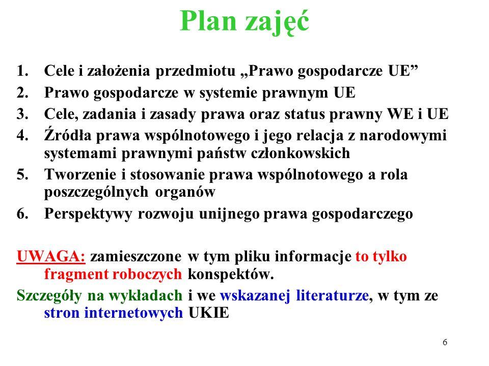 """Plan zajęć Cele i założenia przedmiotu """"Prawo gospodarcze UE"""