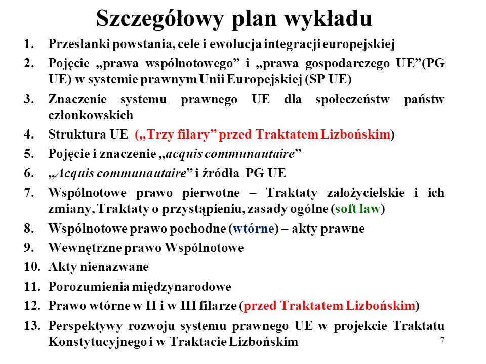 Szczegółowy plan wykładu