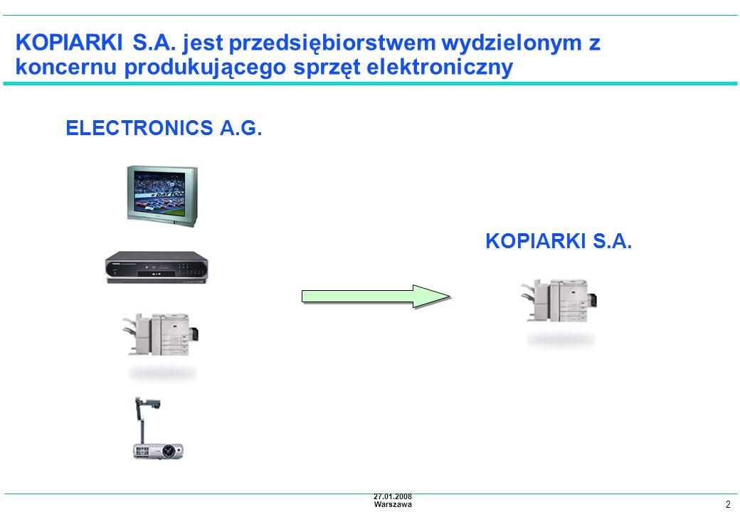KOPIARKI S.A. jest przedsiębiorstwem wydzielonym z koncernu produkującego sprzęt elektroniczny