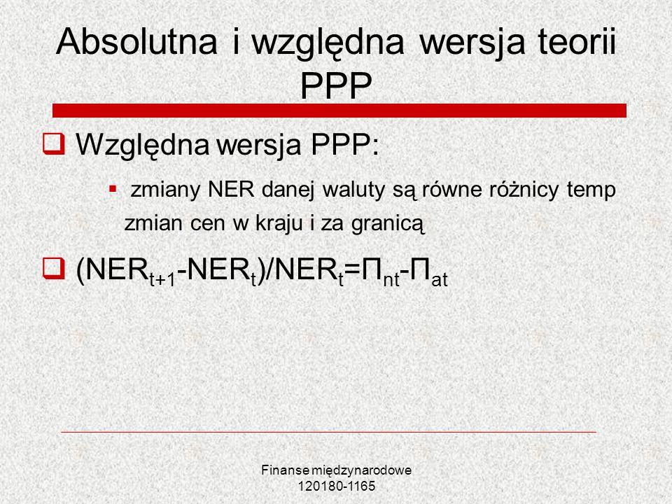 Absolutna i względna wersja teorii PPP