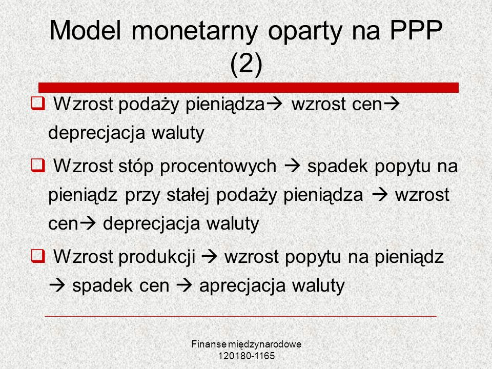 Model monetarny oparty na PPP (2)