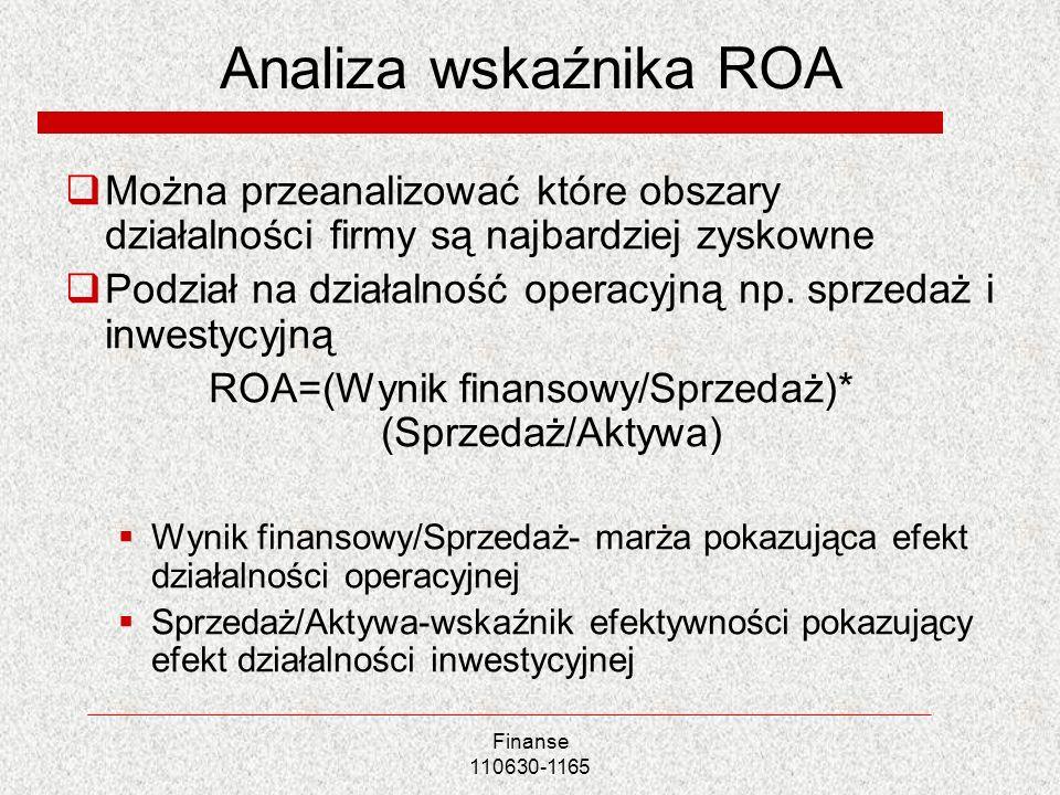 ROA=(Wynik finansowy/Sprzedaż)* (Sprzedaż/Aktywa)