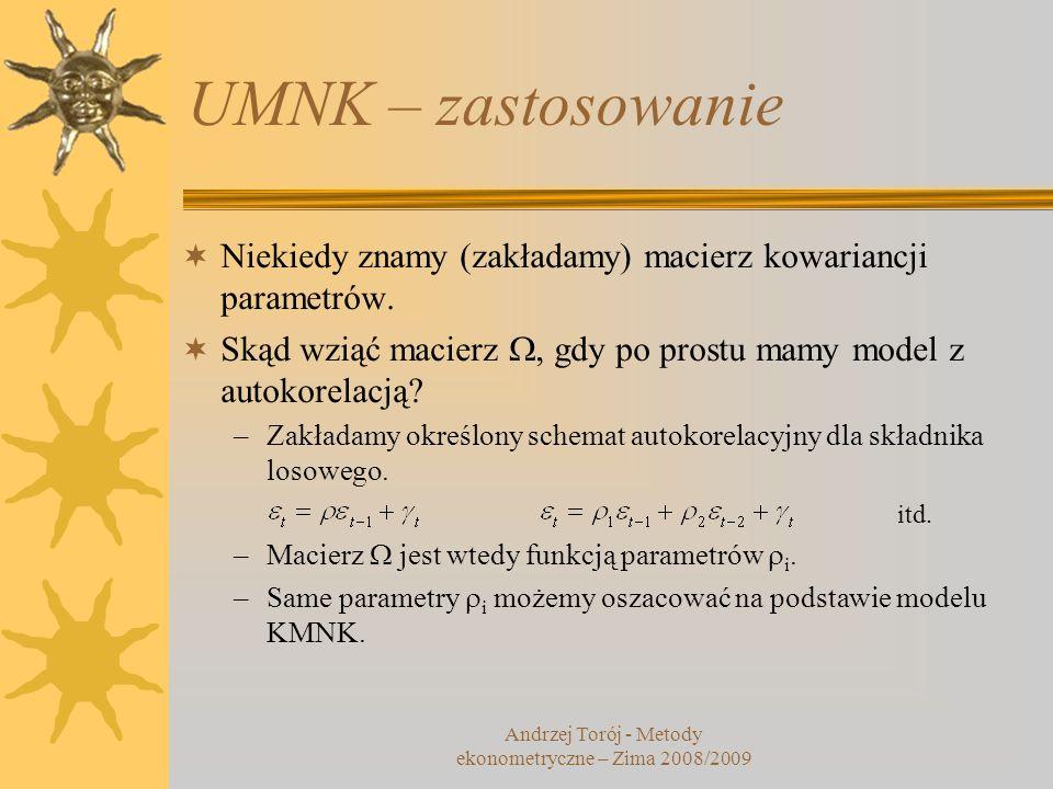 Andrzej Torój - Metody ekonometryczne – Zima 2008/2009