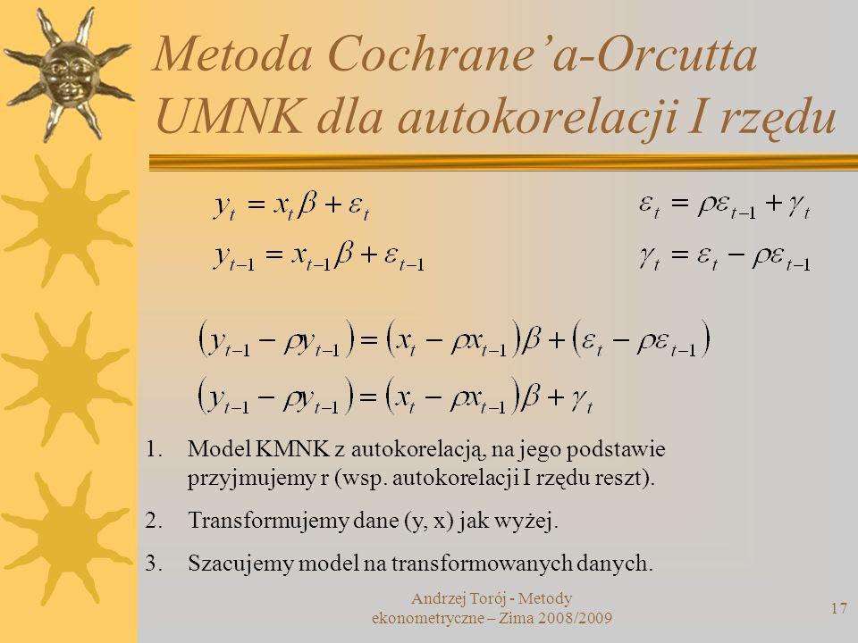 Metoda Cochrane'a-Orcutta UMNK dla autokorelacji I rzędu