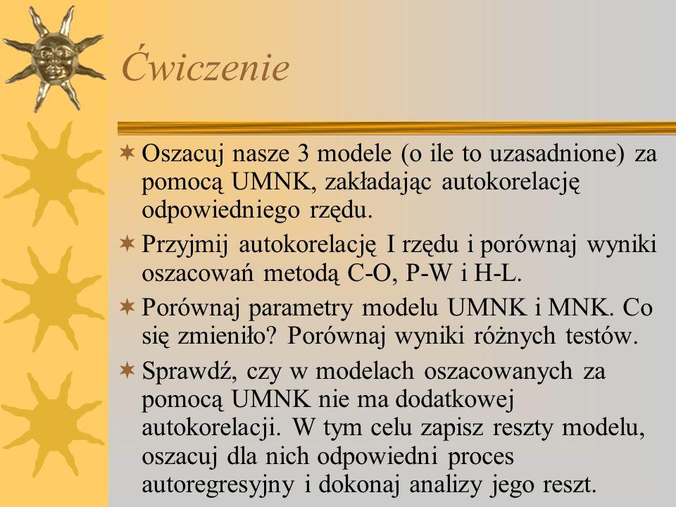 Ćwiczenie Oszacuj nasze 3 modele (o ile to uzasadnione) za pomocą UMNK, zakładając autokorelację odpowiedniego rzędu.