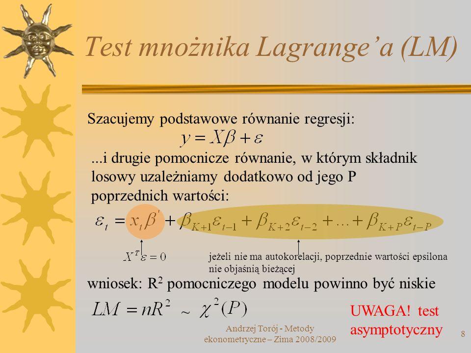Test mnożnika Lagrange'a (LM)