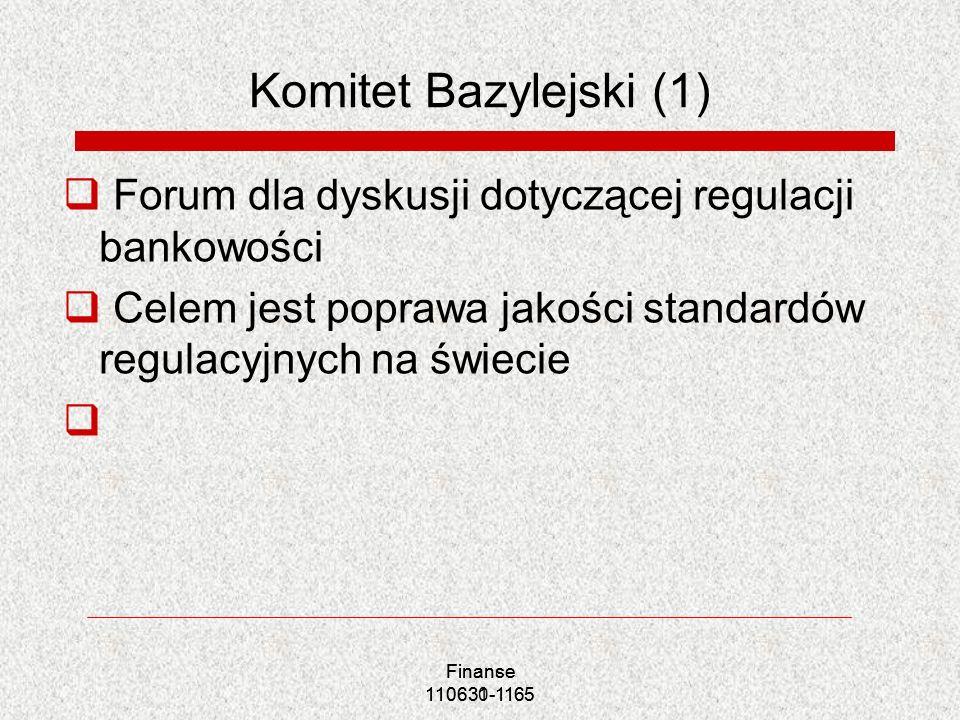 Komitet Bazylejski (1) Forum dla dyskusji dotyczącej regulacji bankowości. Celem jest poprawa jakości standardów regulacyjnych na świecie.