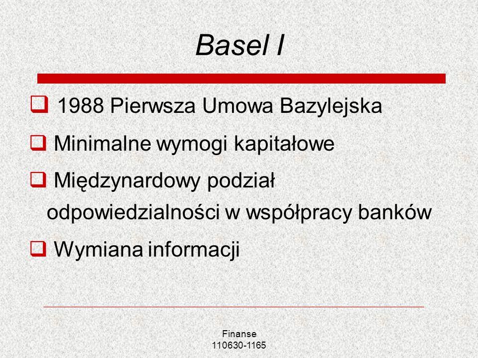 Basel I 1988 Pierwsza Umowa Bazylejska Minimalne wymogi kapitałowe