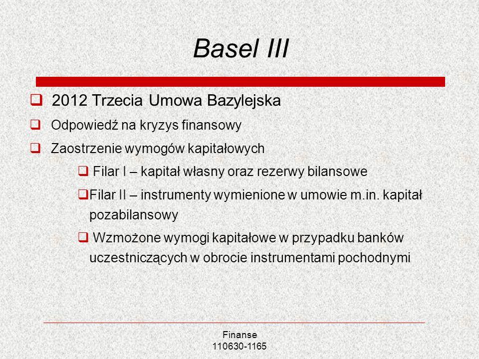 Basel III 2012 Trzecia Umowa Bazylejska Odpowiedź na kryzys finansowy