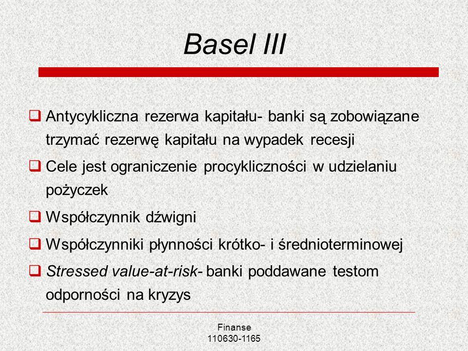 Basel III Antycykliczna rezerwa kapitału- banki są zobowiązane trzymać rezerwę kapitału na wypadek recesji.