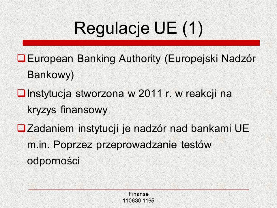 Regulacje UE (1) European Banking Authority (Europejski Nadzór Bankowy) Instytucja stworzona w 2011 r. w reakcji na kryzys finansowy.