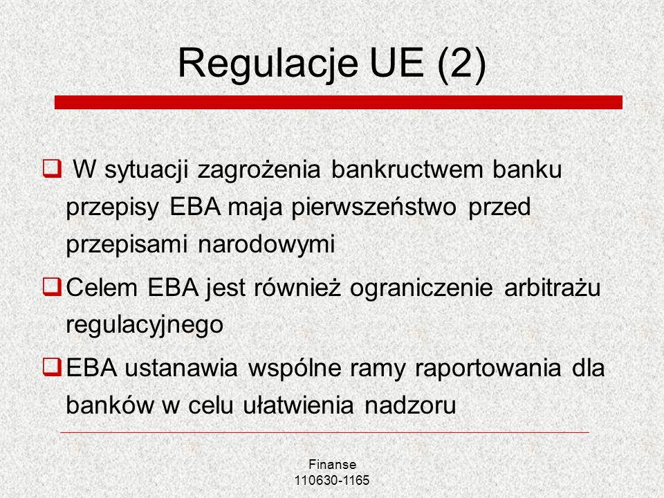 Regulacje UE (2) W sytuacji zagrożenia bankructwem banku przepisy EBA maja pierwszeństwo przed przepisami narodowymi.