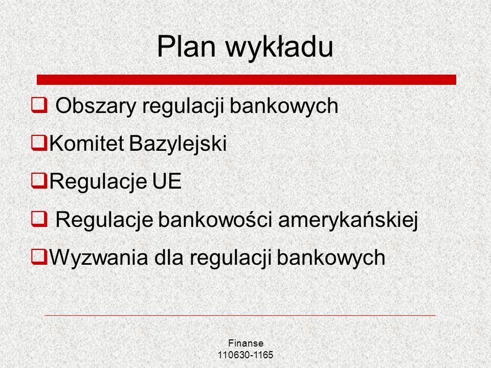 Plan wykładu Obszary regulacji bankowych Komitet Bazylejski