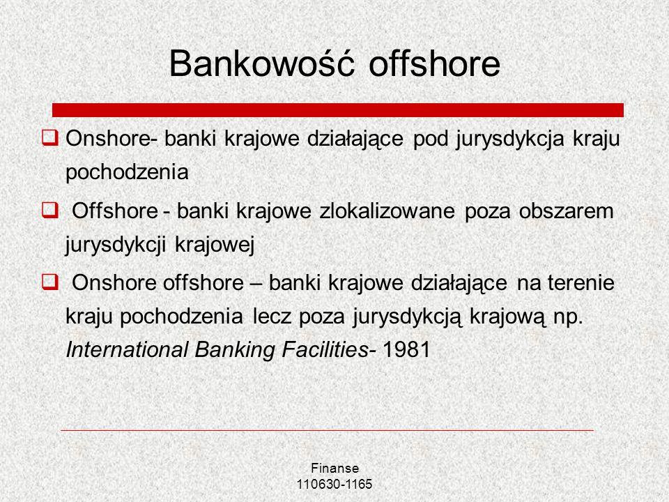 Bankowość offshore Onshore- banki krajowe działające pod jurysdykcja kraju pochodzenia.