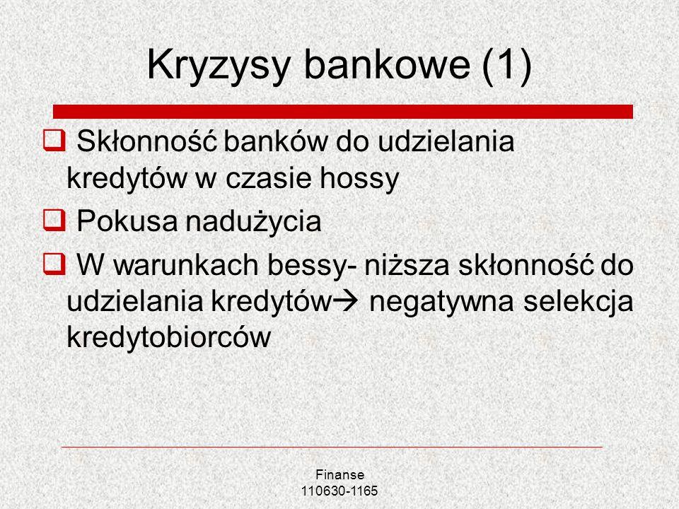Kryzysy bankowe (1) Skłonność banków do udzielania kredytów w czasie hossy. Pokusa nadużycia.