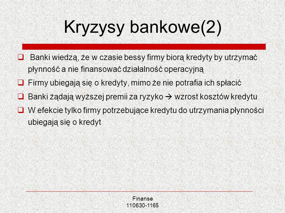 Kryzysy bankowe(2) Banki wiedzą, że w czasie bessy firmy biorą kredyty by utrzymać płynność a nie finansować działalność operacyjną.