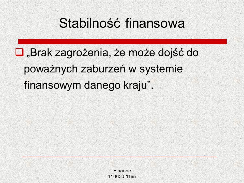 """Stabilność finansowa """"Brak zagrożenia, że może dojść do poważnych zaburzeń w systemie finansowym danego kraju ."""