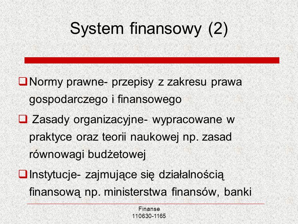 System finansowy (2) Normy prawne- przepisy z zakresu prawa gospodarczego i finansowego.