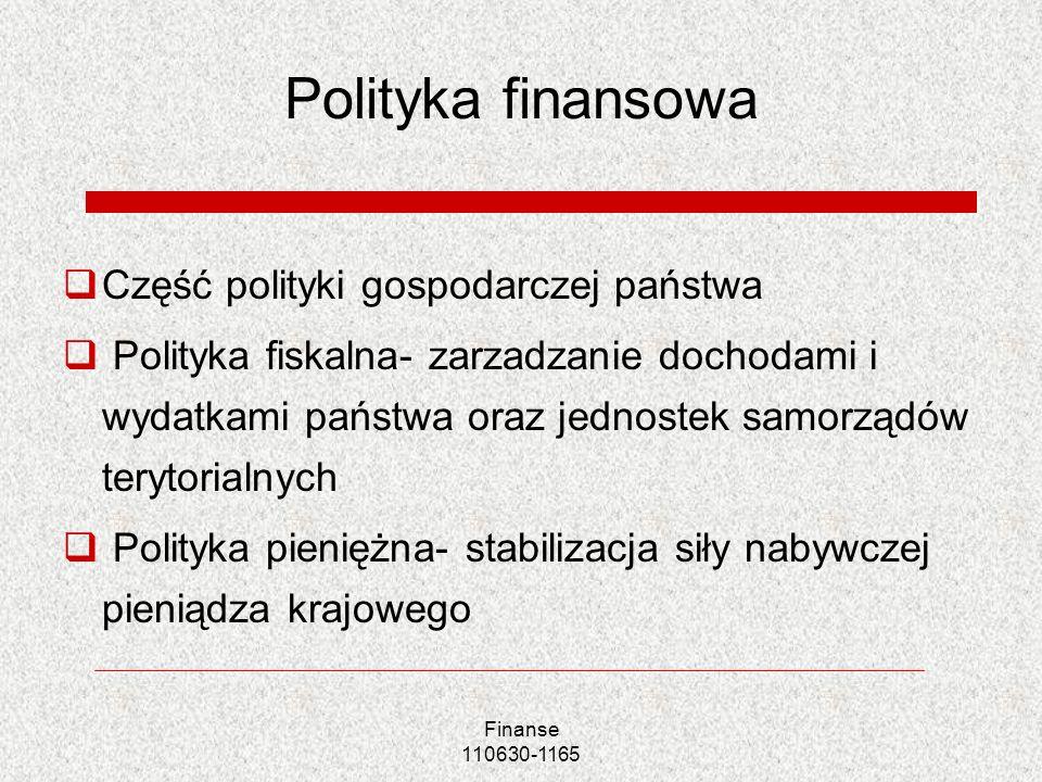 Polityka finansowa Część polityki gospodarczej państwa