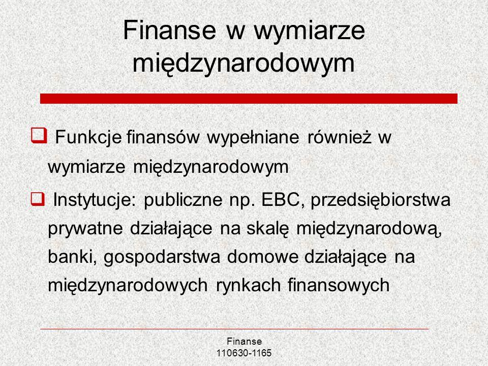 Finanse w wymiarze międzynarodowym