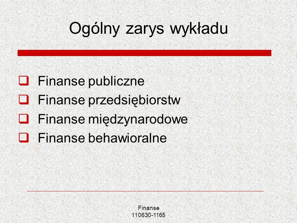 Ogólny zarys wykładu Finanse publiczne Finanse przedsiębiorstw