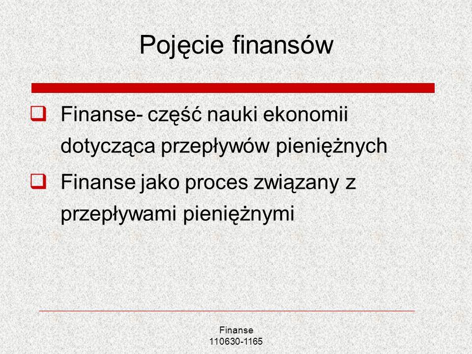 Pojęcie finansów Finanse- część nauki ekonomii dotycząca przepływów pieniężnych. Finanse jako proces związany z przepływami pieniężnymi.