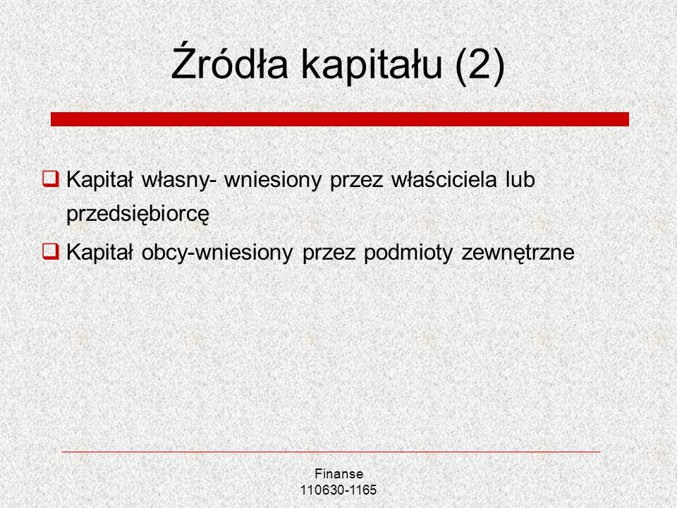 Źródła kapitału (2) Kapitał własny- wniesiony przez właściciela lub przedsiębiorcę. Kapitał obcy-wniesiony przez podmioty zewnętrzne.