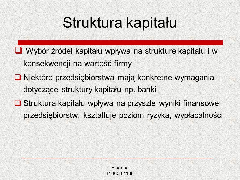 Struktura kapitału Wybór źródeł kapitału wpływa na strukturę kapitału i w konsekwencji na wartość firmy.